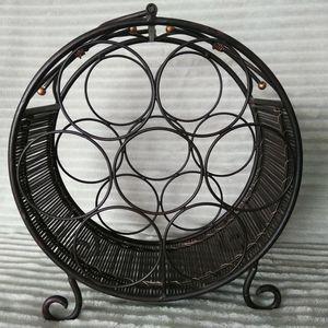 Bronze and Wicker Round Wine Rack